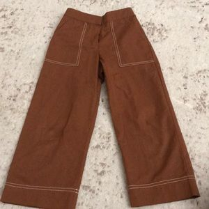 Zara kids girls size 8 brown pants with trim